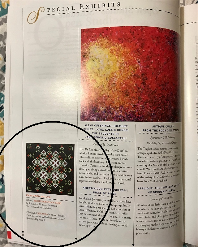 Mediterranean Rose on page 12 of the 2019 International Quilt Festival Houston guide book