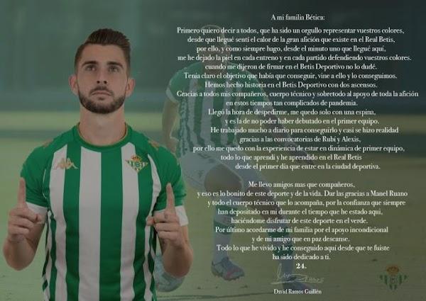 Betis Deportivo, carta de despedida de David Ramos