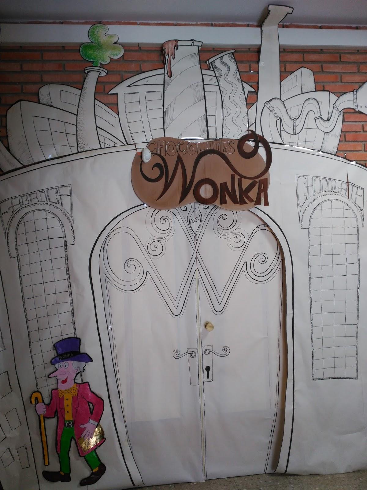 El aula suena la m sica de charlie y la f brica de for Puerta willy wonka