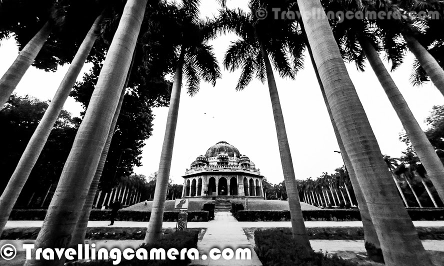 Lodhi garden is at walking distance from Lodhi Garden and it's huge. It's not only a beautiful park with green landscapes but it also has some stunning heritage structures and a very beautiful water body with well structured bridge over it. It's probably one of the best parks to walk around during early morning and late evening. Lot of families come here for weekend or evening picnics and there is enough space in the park. For more, check out the following link :