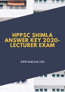 HPPSC Shimla Answer Key 2020-Lecturer Exam