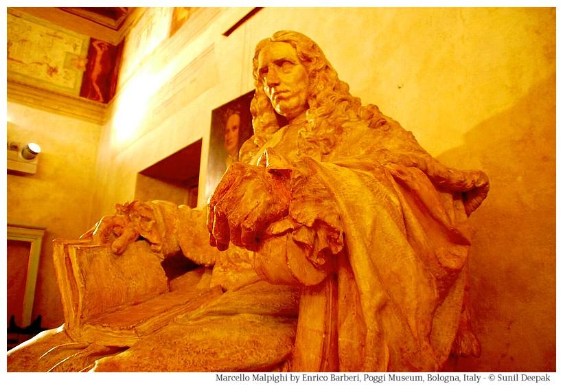 Statue Marcelo Malpighi at Palazzo Poggi of Bologna, Italy - Image by Sunil Deepak