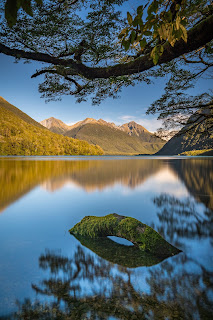 Lake Gunn, Reflections, Sunrise, Laurie Winter, Milford Sound, Fiordland