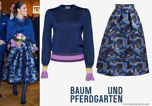 Crown Princess Victoria wore Baum und Pferdgarten Charissa blouse and Sashenka Jacquard midi skirt
