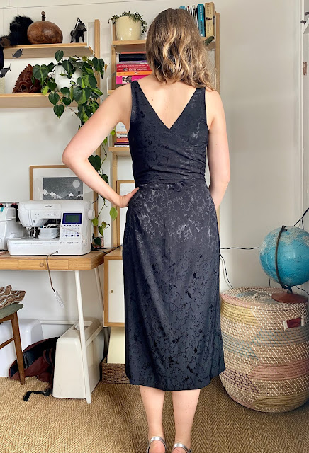 Diary of a Chain Stitcher: Papercut Patterns Axis Dress in Black Lichen Viscose Jacquard from The Fabric Store