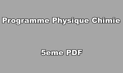 Programme Physique Chimie 5eme PDF