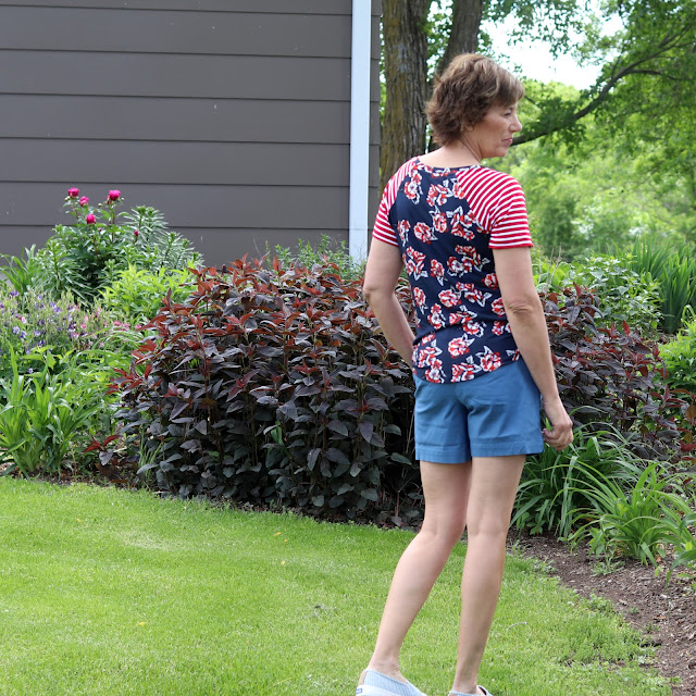 Hey June, Lane Raglan made from Style Maker Fabrics floral and stripe from Sewing Studio