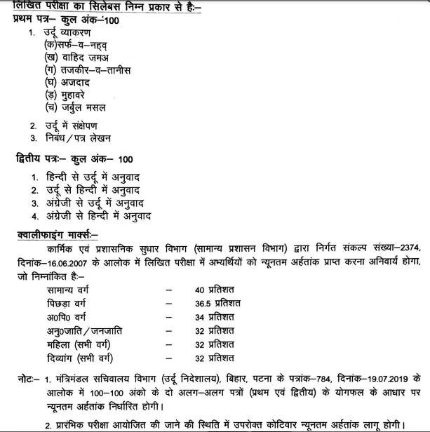 Bihar SSC Urdu Anuvadak Syllabus 2019