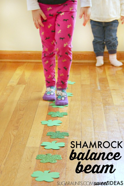 Try this Shamrock St. Patricks Day balance beam for vestibular sensory input.