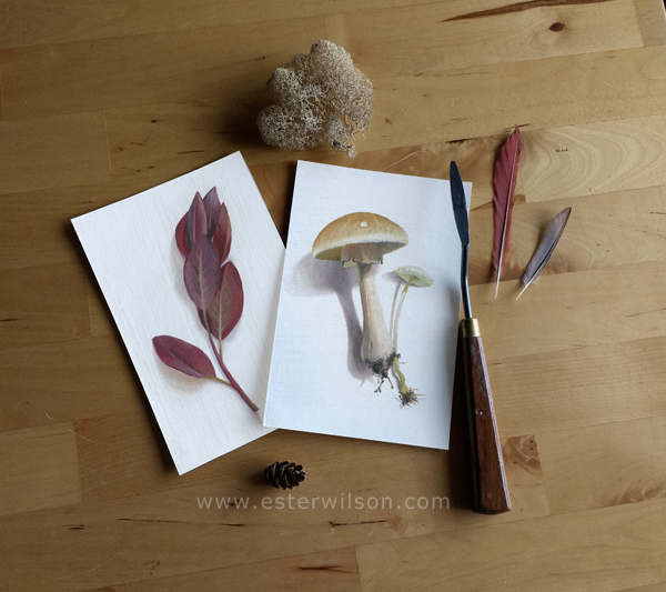 """These two oil paintings on prepared 4"""" x 6"""" paper are called 'Mushroom Forest' and 'Purple Leaves'"""