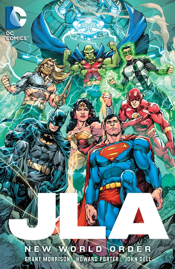 jla dc comics grant morrison howard porter aquaman batman flash green lantern martian manhunter superman wonder woman
