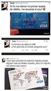 Datos de la tarjeta de débito (Humor de Facebook)