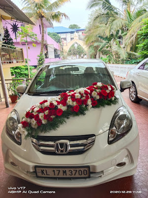 Wedding Car Decoration Kerala using Red White Flowers