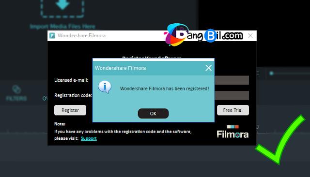 Wondershare Filmora has been registered