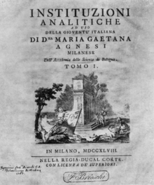 The cover page of Agnesi's Instituzioni  analitiche ad uso della gioventu italiana