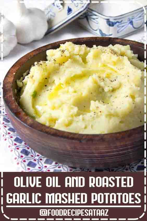 4.6 ★★★★★ | Delicious creamy olive oil and roasted garlic mashed potatoes are made with no cream or butter. They're dairy-free and vegan. #Vegan #MashedPotatoesRecipe #DairyFree