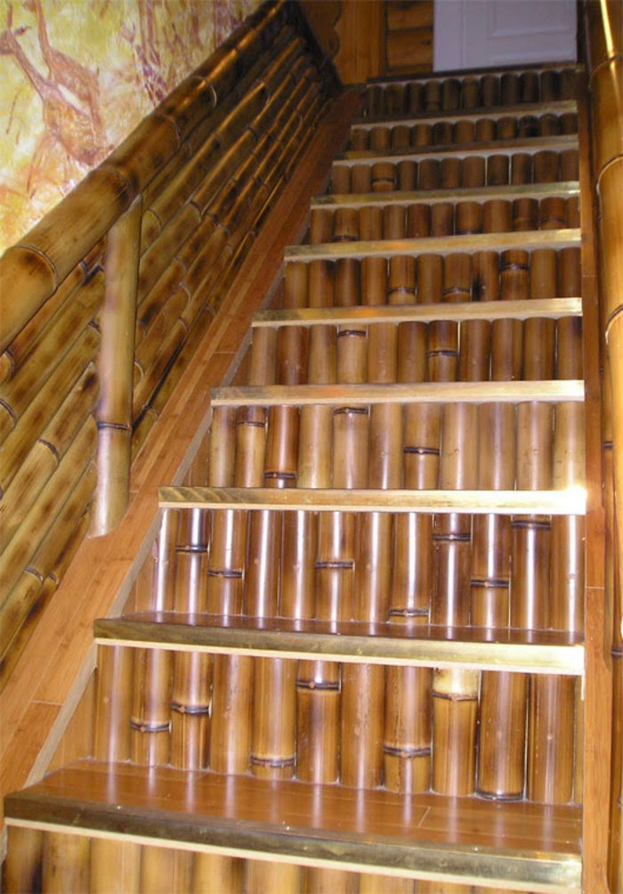 Decoraci n de escaleras colores en casa - Escalera de bambu ...