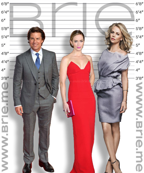 Emily Blunt height comparison with Tom Cruise and Charlize Theron