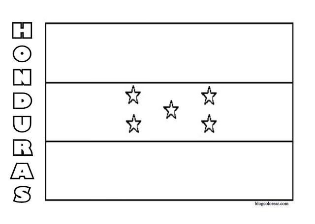 Descarga imágenes para colorear  bandera  Honduras