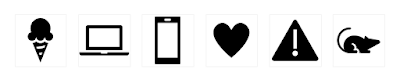 Visually distorted - Here are a few icons that are all coming from the same collection and have the exact same size and alignment, and yet, due to the nature (and optical weight) of each icon, the collection doesn't fee very much aligned: