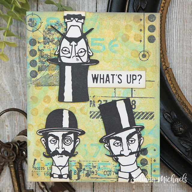What's Up Card by Juliana Michaels featuring Tim Holtz Stampers Anonymous Inquisitive Stamp Set and Gel Plate Printing