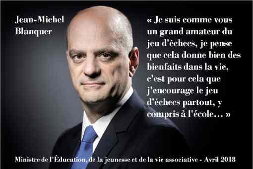 Le message vidéo du ministre de l'Education Nationale, Jean-Michel Blanquer, grand amateur du jeu d'échecs
