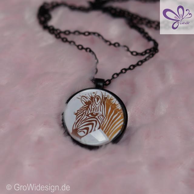 Motiv Splash Zebra von GroWidesign, Ketten und Glasstein, Klebeperlen, Cabochon