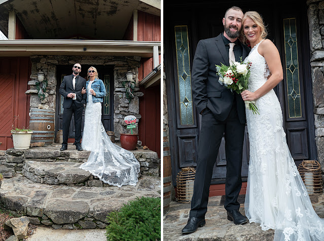 Portrait if Bride and Groom arm in arm wearing sunglasses in front entrance of stone farm building Magnolia Farm Asheville Wedding Photography captured by Houghton Photography