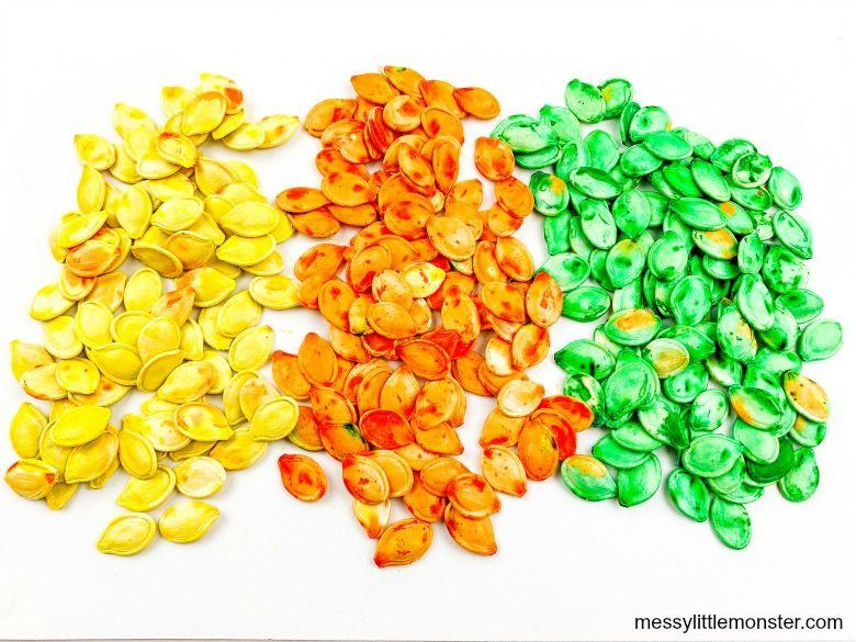 dyed pumpkin seeds recipe - sensory play recipes for kids