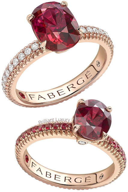 Fabergé Colours of Love rose gold ruby fluted rings with diamond & ruby shoulders #brilliantluxury