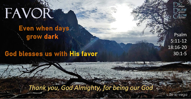 Image at Yosemite of a shadowy, snow covered meadow against a dark hillside with dark remnants of a fallen tree. Words on the picture say Favor: Even when days grow dark, God blesses us with His favor. Thank you, God Almighty, for being our God. Psalm 5:11-12, Psalm 18:16-20, Psalm 30:1-5