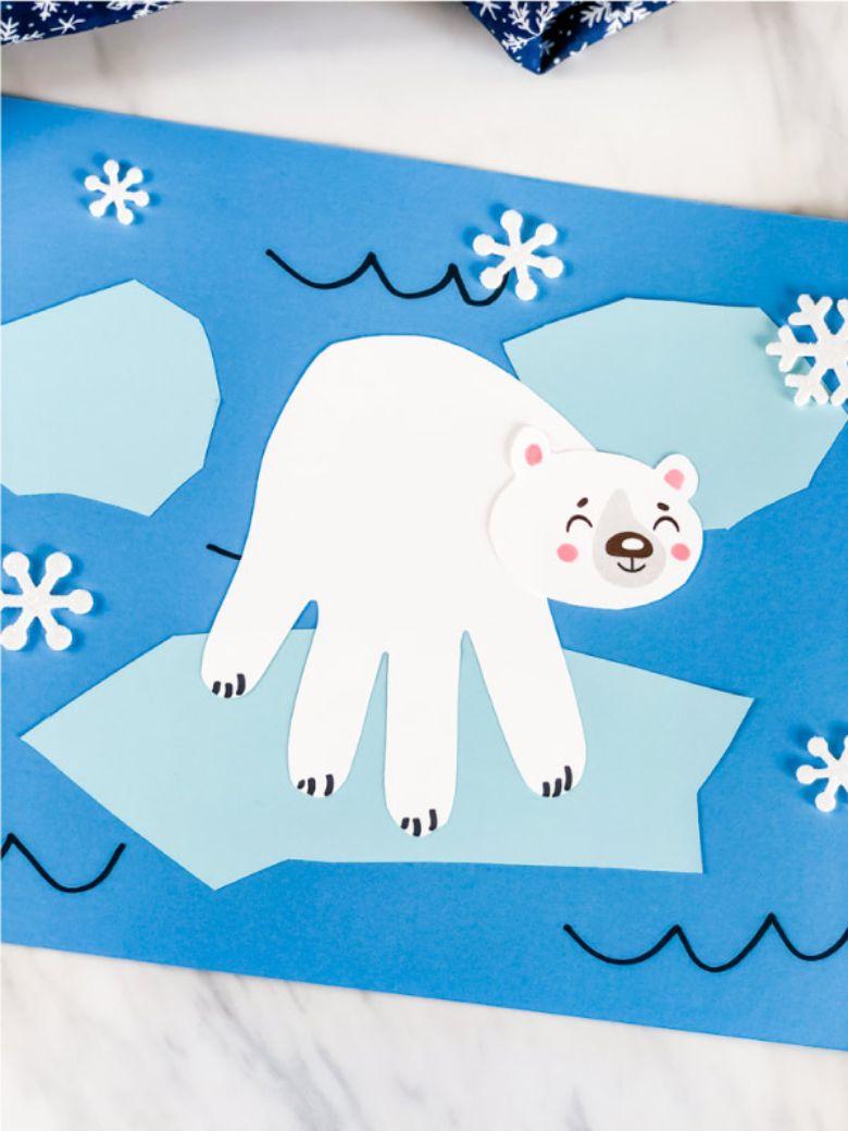 polar bear handprint craft for kids