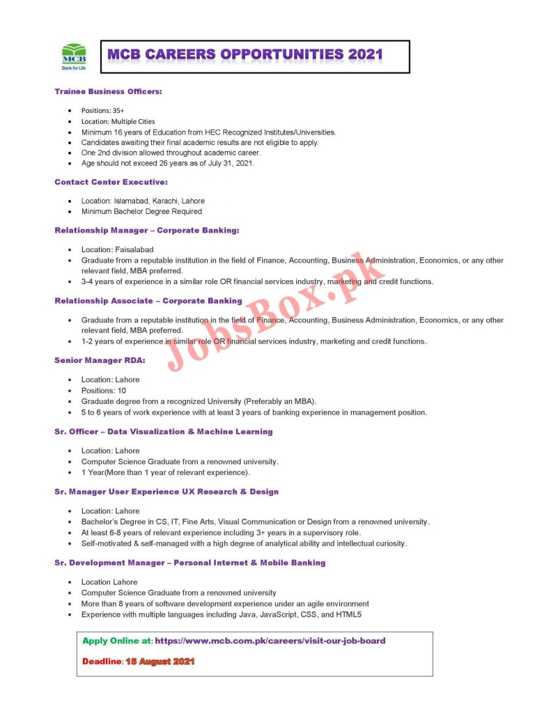MCB Bank Jobs 2021 – Apply Online via www.mcb.com.pk
