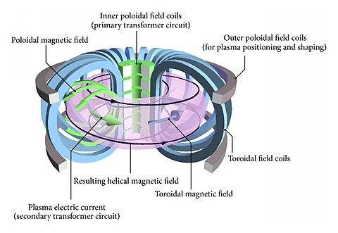 Magnetic fields in a tokamak source Wikipedia.