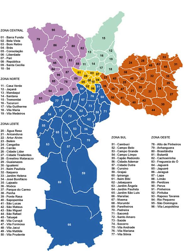 Mapa 1: distritos da cidade de São Paulo