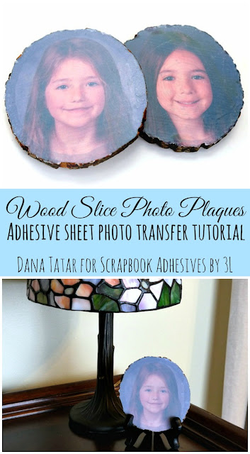 Wood Slice Photo Plaque Video Tutorial by Dana Tatar for Scrapbook Adhesives by 3L
