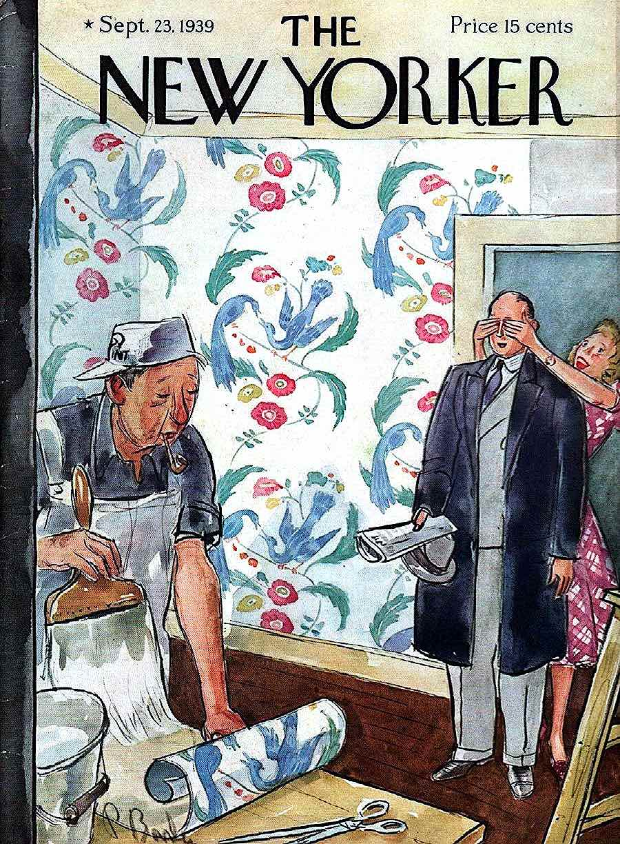 a Perry Barlow illustration for The New Yorker Magazine, September 23 1939, a woman surprising her husband with objectionable wallpaper