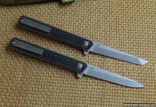 Quartermaster Qwaiken style titanium - CF flipper  with M390 blade