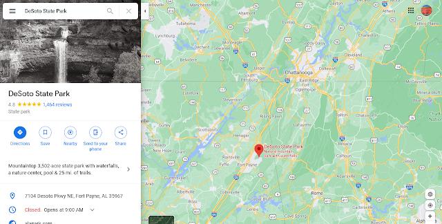 Screenshot, De Soto State Park, Alabama. March 2021.