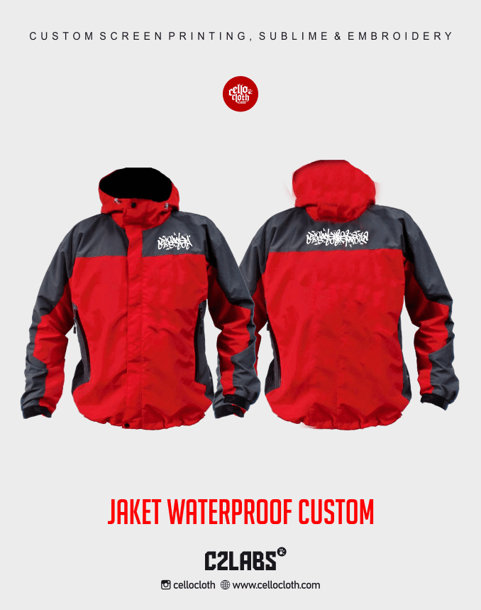 Red Black Scheme Jacket Waterproof Custom - Cello Jogja