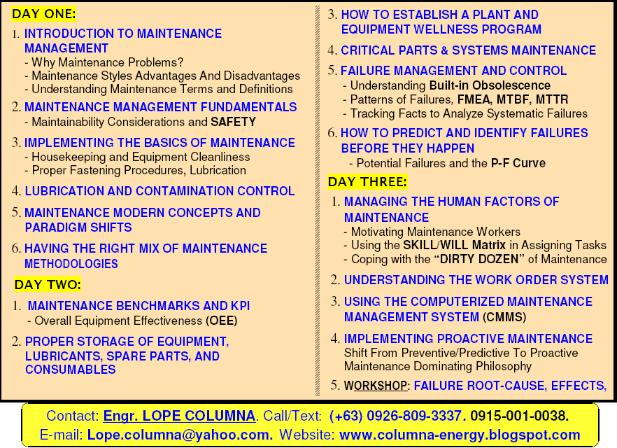 maintenance excellence How can the answer be improved.