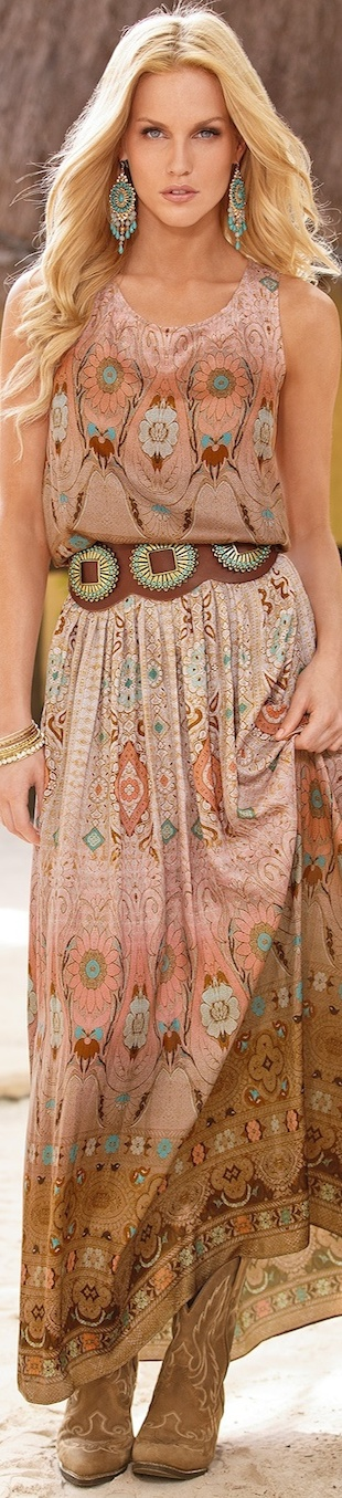Boston Proper Intricate Medallion Maxi Dress Beige Multi