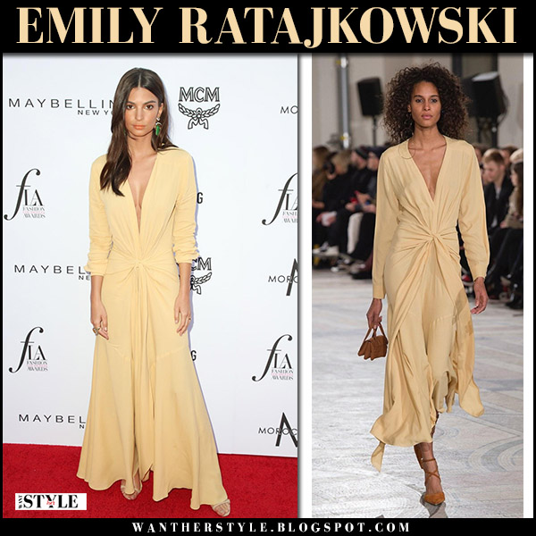 Emily Ratajkowski in yellow maxi dress jacquemus red carpet fashion april 8