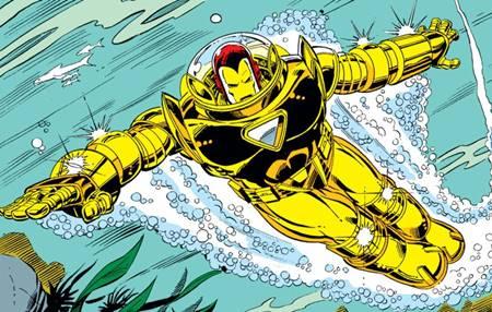 Iron Man y su armadura acuática