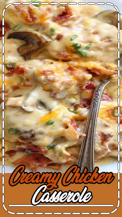 Chicken Casseroles are always a good idea! This Creamy Chicken Casserole Recipe with bacon, mushrooms, and cheese. A simple chicken casserole dinner recipe. #valentinascorner #chicken #creamychicken #chickencasserole #creamycassserole #casserole #chickendinner #easydinner #dinner #recipe