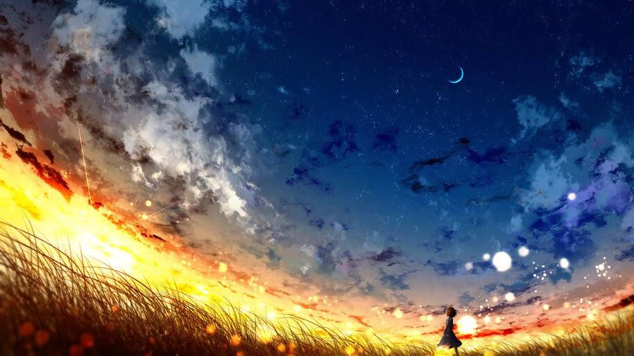 Sunset, Sky, Anime, Scenery, 4K, #6.1035