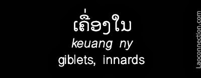 Lao Word of the Day:  Giblets, Innards - written in Lao and English