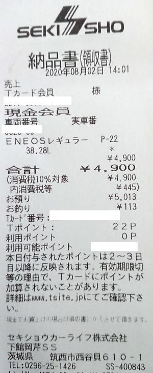 ENEOS 下館岡芹店 2020/8/2 のレシート
