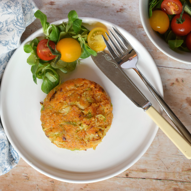 Brussel, quinoa & sweet potato cakes a perfect vegetarian lunch when served with a poached egg
