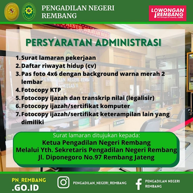 Lowongan Kerja Tenaga Honorer Pengadilan Negeri Rembang Minimal SMA Sederajat